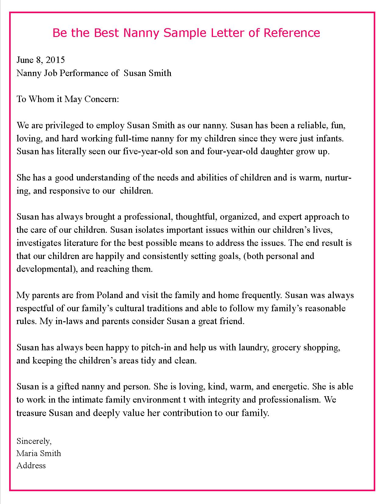 babysitter recommendation letter sample