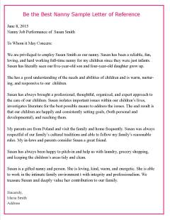 letter of recommendation for child care