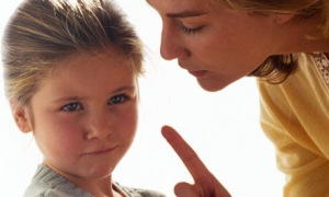 Mother scolds daughter